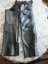 XPERT PERFORMANCE GEAR~Black COWHIDE LEATHER MOTORCYCLE CHAPS~XS
