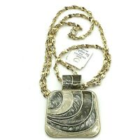"Lia Sophia GoldTone Square Cream, Gray, Brown Enamel Pendant 22"" Chain Necklace"
