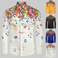 Men Casual Novelty Musical Note Pattern Casual Long Sleeves Shirt Top Blouse