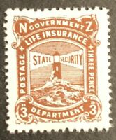 New Zealand. Life Insurance. 3d Brown Lake. SG L40. 1944. MNH. CV £32.  #AF103