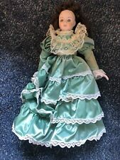 Heritage Mint Porcelain Doll Green Dress With Stand