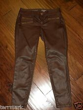 THE LIMITED DENIM SKINNY LEG  FAUX LEATHER SKINNY COATED JEANS DARK BROWN  2 P