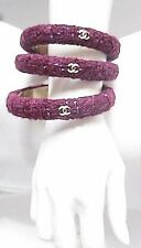 3 Separate CHANEL Bracelets Triple Gold CC Stackable Tweed Bangle Cuff Med NWT