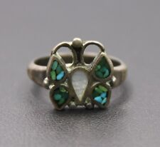 Sterling Silver Southwestern Style Turquoise Chip Butterfly Ring Size 7 / 4.3g