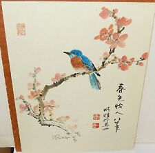 W.RING JAPANESE BIRD AND BLOSSOM PRINT SIGNED