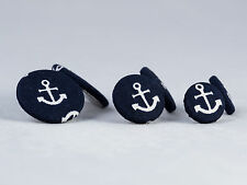 Stoffohrstecker Ohrstecker Stoff Motiv Anker blau weiß Ohrring Maritim Silber