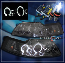 1999-2004 FORD MUSTANG HALO PROJECTOR HEADLIGHT+HID 8K SMOKE 2000 2001 2002 2003