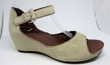CLARKS Beige Suede Ankle Strap Peep Toe Sandals Shoes Hidden Wedge UK5.5