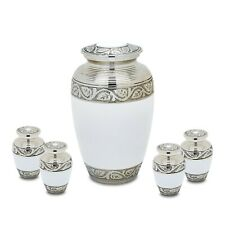 Grecian White Adult Cremation Urn with 4 matching tokens