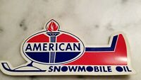 """Vintage American Oil Snowmobile Oil Sticker Decal - 6"""" X 3"""" --New Old Stock"""