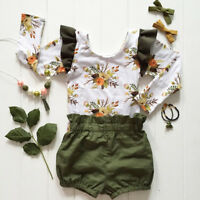 Summer Kids Baby Girls Floral Shirt Top+Shorts Pants 2pcs Outfits Clothes Set AU