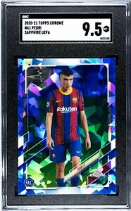 2020-21 Topps Chrome Sapphire UEFA PEDRI SGC 9.5 RC Rookie Card #61 Barcelona