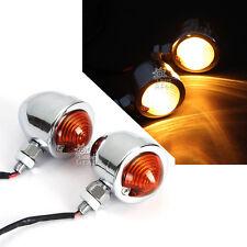 2x Chrome Universal Bullet Motorcycle Turn Signal Indicator Amber Blinker Lights