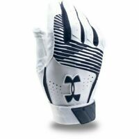 Under Armour Clean Up Batting Gloves, Adult Size S, L, White, Navy Blue Baseball