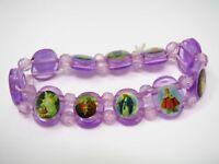 Vintage Christian Bracelet: Purple Color Religious Theme Beads