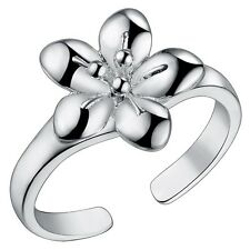 925 Sterling Silver Plated Adjustable Ring Thumb Finger Daisy Silver Flower Ring