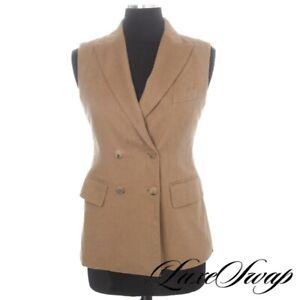 INCREDIBLE Maxmara Max Mara Made in Italy 100% Camel 2PC Vest Pant Suit 40 NR