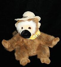"Walmart Safari Hat MONKEY 11"" Yellow Bandana Scarf Black Nose Plush Stuffed Toy"