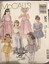 McCall's Fashion Basics pattern 3611 Girl's Gown or Dress size 2, 3, 4 uncut