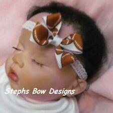 FootBall Dainty Hair Bow Lace Headband 4 Preemie Newborn Toddler NFL So Cute