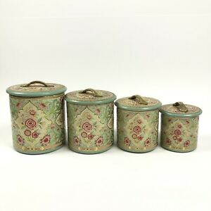 Vintage Nesting Tin Canisters Set of 4 Embossed Made in Holland Floral Victorian