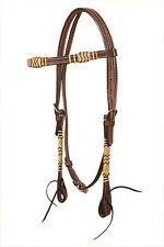 Western Dark Oil Natural Rawhide Braided With Leather Strings Headstall