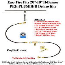"H40K++: 40"" H-BURNER in SS316 COMPLETE DELUXE KIT NAT GAS OR PROPANE FIRE KIT"