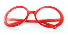 Red Oversized Round Geek Nerd Vintage Fashion Fancy Clear Glasses 80s