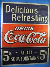 VINTAGE WOOD GRAIN COKE COCA COLA SODA 5 CENTS AT FOUNTAINS METAL TIN SIGN diner