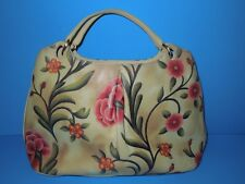 RARE !! COLE HAAN LEATHER FLORAL HAND BAG PURSE EUC