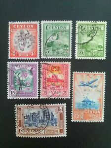 SET OF 7 USED STAMPS OF CEYLON 1950 4c TO re1 MULTICOLOURED.