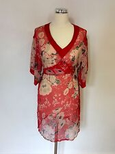 MONSOON RED FLORAL PRINT SILK BEACH COVER UP SIZE 12