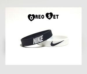 Nike Black White Bracelet Oreo Baller band rubber bracelet wristband 2-PACK