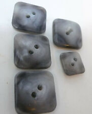 New listing Lot 5 Vintage Mid Century Buttons Gray Marble Look Square 4 Large 1 Small