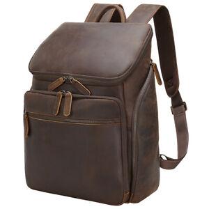 """Men Leather Hiking Backpack Travel 15"""" Laptop Case School Bag Camping Satchel"""