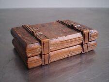 BOITE A TIMBRES MALLE DE VOYAGE BOIS SCULPTE TROMPE OEIL XIX°s ANCIEN STAMP BOX