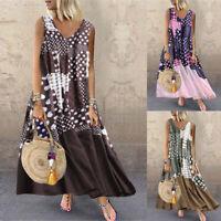ZANZEA 8-24 Women Summer Sleeveless Long Maxi Sundress Bohemian Printed Dress