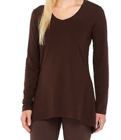 H-51 Denim & Co Perfect Jersey Lng Slv V-Neck Trapeze Hem Top DK CHOCOLATE sz 1x