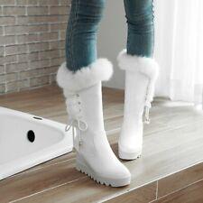 Women High Heel Fur Trim Calf Boots Lace Up Warm Snow Boots Hidden Heel Shoes Sz