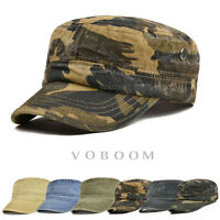 Camo Cotton Men's Army Cap Military Flat Cap Trucker Hat Driver Cabbie Sun Hat