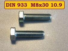 10 Stück Schraube hochfest DIN 933 M8x30 10.9 verzinkt getempert