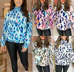 Womens Leopard Multicolour Print High Frill Neck Chiffon Summer Sheer Blouse Top