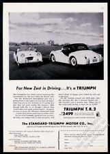 1955 Triumph TR2 2 car top up and down photo vintage print ad