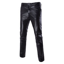 Men Faux Leather Biker Pants Wet Look Stage Trousers Metallic Shiny Slim Fashion