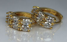 Pair Men Womens 18ct Yellow Gold Filled Plated Gem Huggie Hoop Earrings UK