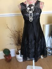 Monsoon Black Evening Silk Pandora Dress With Bow Size 8  Defect Hols 9/5