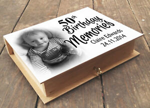 Personalised wooden memory box and photo album, 50th birthday present