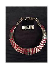 NWT Rare Vintage Biche de Bere Necklace Choker Paris Signed Silver w/ Red Enamel