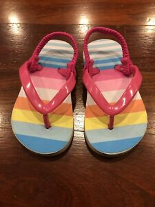 Cat And Jack Toddler Girl Size 5/6 Pink Flip Flops