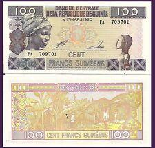Guinea P35c, 100 Francs, scarved woman / banana harvest - UNC, 2012 see UV image